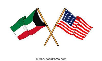 America and Kuwait alliance and friendship - cartoon-like...