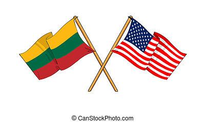 America and Lithuania alliance and friendship - cartoon-like...