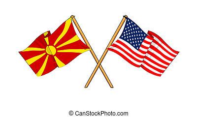 America and Macedonia alliance and friendship - cartoon-like...