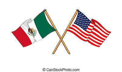America and Mexico alliance and friendship - cartoon-like...