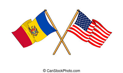 America and Moldova alliance and friendship - cartoon-like...