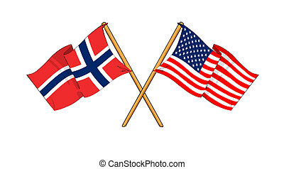 America and Norway alliance and friendship - cartoon-like...