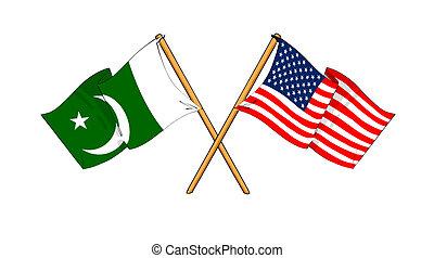 America and Pakistan alliance and friendship - cartoon-like ...