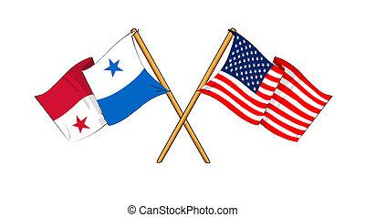 America and Panama alliance and friendship - cartoon-like...