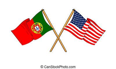 America and Portugal alliance and friendship - cartoon-like...