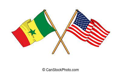 America and Senegal alliance and friendship - cartoon-like...