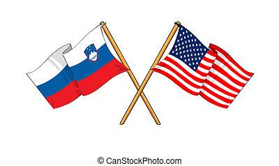 America and Slovenia alliance and friendship - cartoon-like...