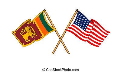 America and Sri Lanka alliance and friendship - cartoon-like...