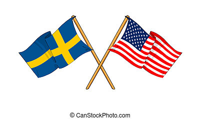 America and Sweden alliance and friendship - cartoon-like...
