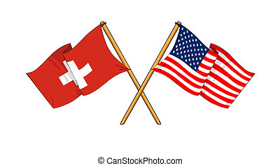 cartoon-like drawings of flags showing friendship between Switzerland and USA