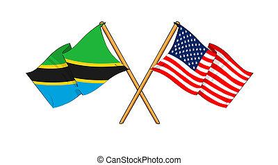 cartoon-like drawings of flags showing friendship between Tanzania and USA