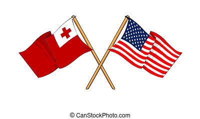 America and Tonga alliance and friendship - cartoon-like...