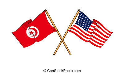 America and Tunisia alliance and friendship - cartoon-like...
