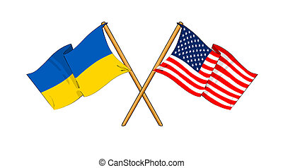 America and Ukraine alliance and friendship - cartoon-like...