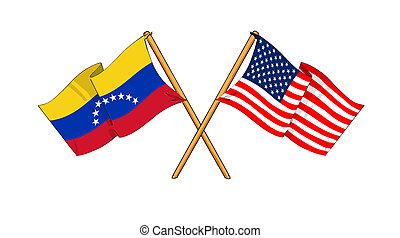 America and Venezuela alliance and friendship - cartoon-like...