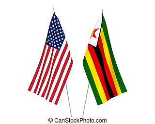 America and Zimbabwe flags - National fabric flags of ...