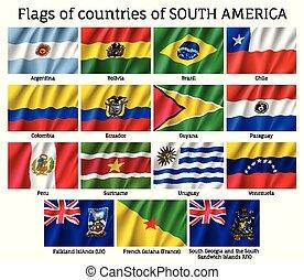 america, bandiere, continente, sud, paesi