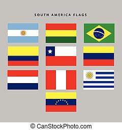 america, bandiere, sud