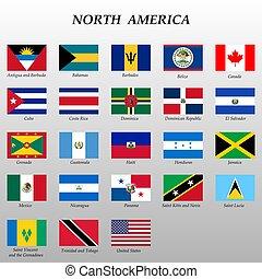 america., bandiere, tutto, set, nord