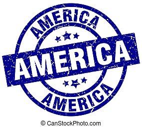 America blue round grunge stamp