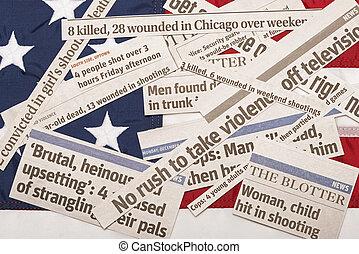 America Buried In Violence - American Flag Buried In...
