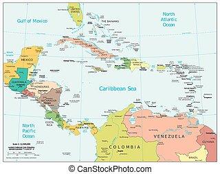 america centrale, caraibico, mappa
