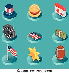 America color isometric icons
