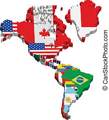 America continent and flags