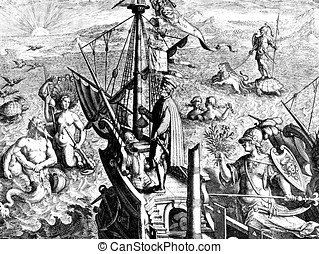 America discovery allegory, old print - Allegory of America...