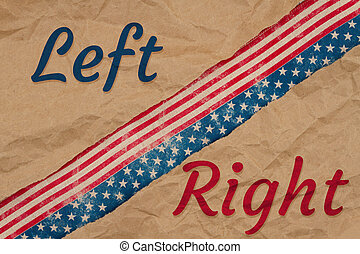 America divided message with left right type with retro USA stars and stripes burlap ribbon
