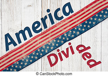 America Divided type message with retro USA stars and stripes burlap ribbon