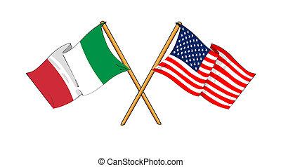 america, e, italia, alleanza, e, amicizia