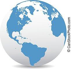America, Europe, Africa - Icon of the World Globe