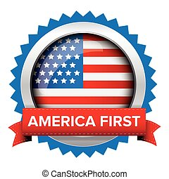 America First badge with USA flag vector