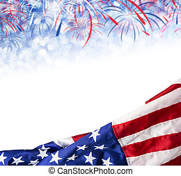 America flag and bokeh background with firework and copy space for USA 4 july independence day and other celebration
