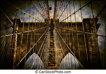 America Flag Flying Over The Brooklyn Bridge