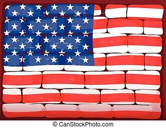 America flag on brickwall