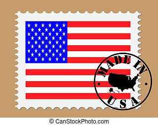 America Flag Postage Stamp made in USA Vector illustration Eps 10