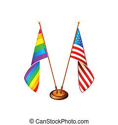 America flags - USA and gay pride flags at the same stand