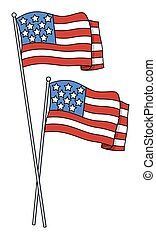 America Flags Vector