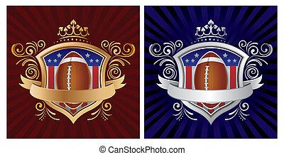 america football and shield