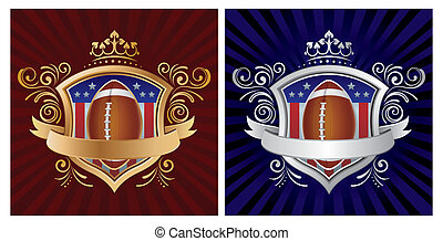 america football and shield
