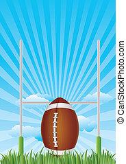 america football with blue sky
