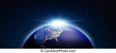America from space. 3d rendering - America from space. Stars...