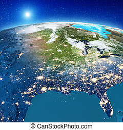 America from space. Elements of this image furnished by NASA. 3d rendering