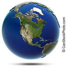 america, globale, mappa, -, nord america