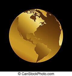 America golden planet backdrop view vector illustration