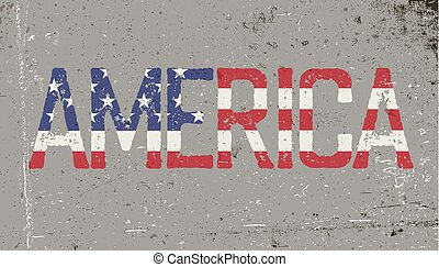 America. Grunge word sign. Vector illustration