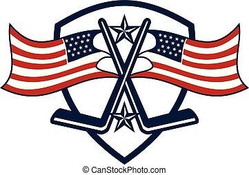 America Hockey Logo Design Template Vector