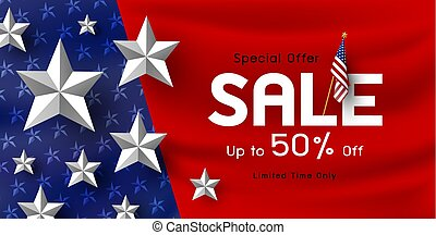 America holiday sale banner background vector illustration